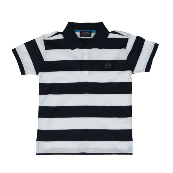 Paul & Shark Cadets Boys Blue Block Stripe Polo Shirt main image