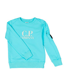 CP Company Undersixteen Boys Blue Logo Viewfinder Sleeve Fleece Sweatshirt