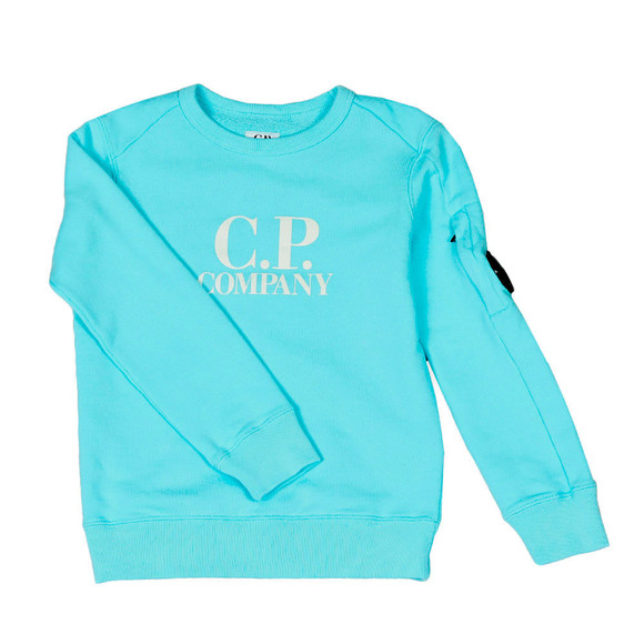 C.P. Company Undersixteen Boys Blue Logo Viewfinder Sleeve Fleece Sweatshirt main image