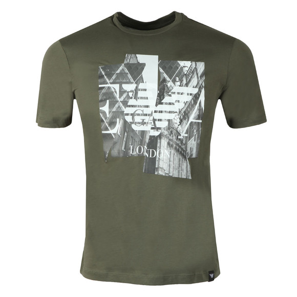 Emporio Armani Mens Green London Graphic T-Shirt