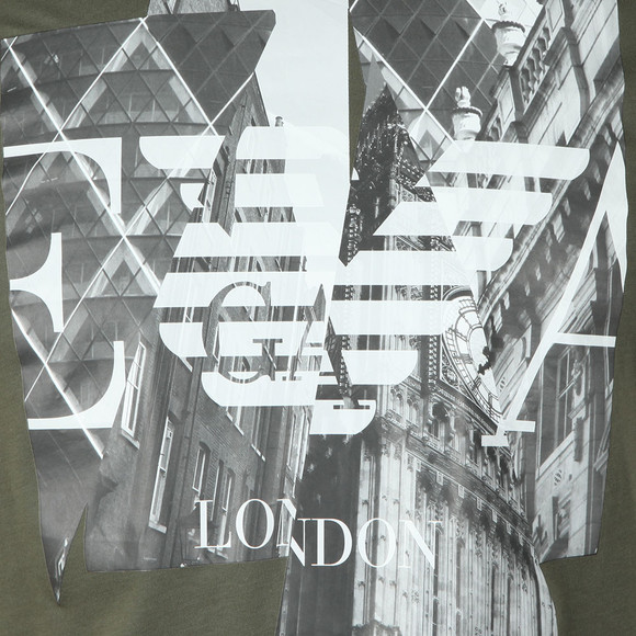 Emporio Armani Mens Green London Graphic T-Shirt main image
