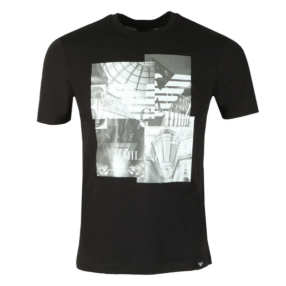 Emporio Armani Mens Black Milano Graphic T-Shirt main image
