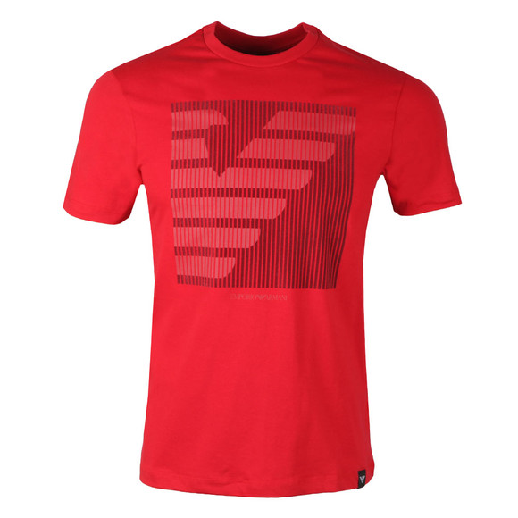 Emporio Armani Mens Red Large Square Eagle T-Shirt