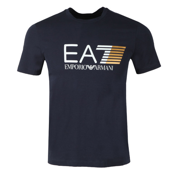 EA7 Emporio Armani Mens Blue Visibility Large Logo T-Shirt main image