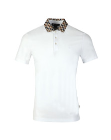 Aquascutum Mens White Coniston Club Check Collar Polo Shirt
