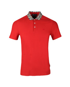 Aquascutum Mens Red Coniston Club Check Collar Polo Shirt