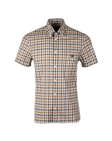 Aquascutum Mens Brown York Club Check Short Sleeve Shirt