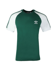 Adidas Originals Mens Green 3 Stripes Tee