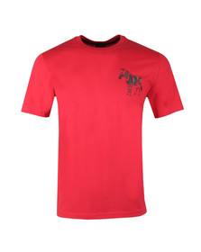 PS Paul Smith Mens Red Large Print Zebra Tee