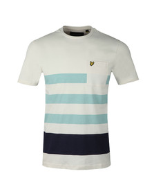 Lyle and Scott Mens Off-white S/S Wide Stripe Tee