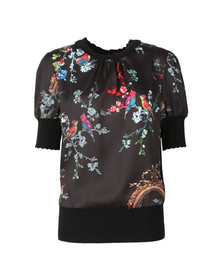 Ted Baker Womens Black Natiee Opulent Fauna Short Sleeve Knit