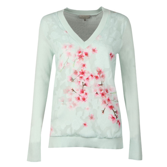 Ted Baker Womens Green Brieana Soft Blossom Burnout Jumper main image