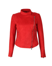 French Connection Womens Red Ellef Suedette Biker