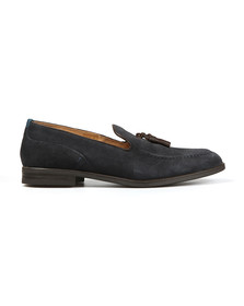 H By Hudson Mens Blue Dickson Suede Loafer