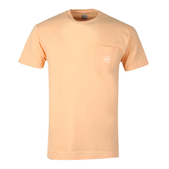 HUF Mens Pink Box Logo Pocket T Shirt main image