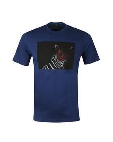 PS Paul Smith Mens Blue S/S BW Zebra Tee
