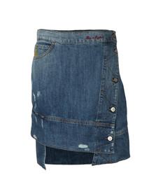 Vivienne Westwood Anglomania Womens Blue Liz Ripped Denim Skirt