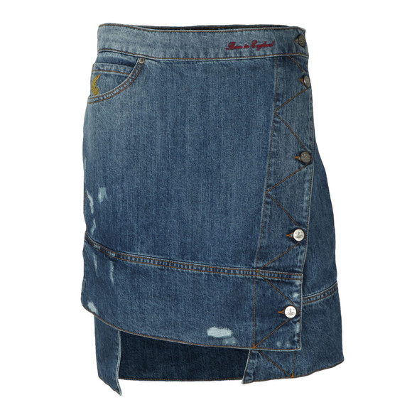 Vivienne Westwood Anglomania Womens Blue Liz Ripped Denim Skirt main image