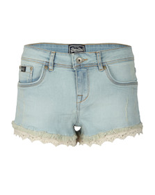 Superdry Womens Blue Lace Trim Hot Short