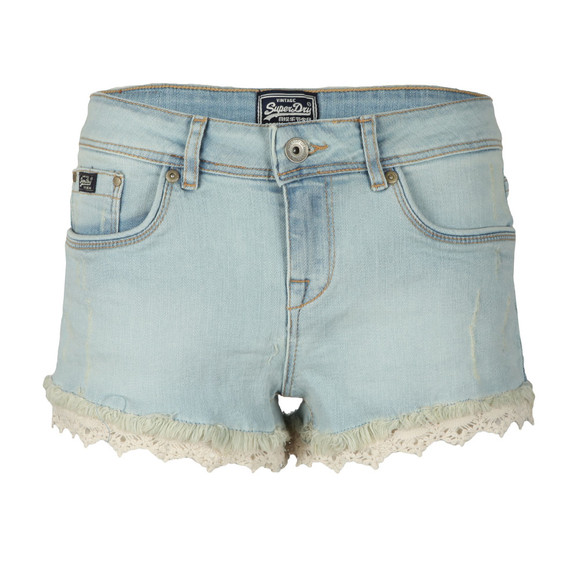 Superdry Womens Blue Lace Trim Hot Short main image