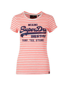 Superdry Womens Pink Vintage Logo Stripe Entry Tee
