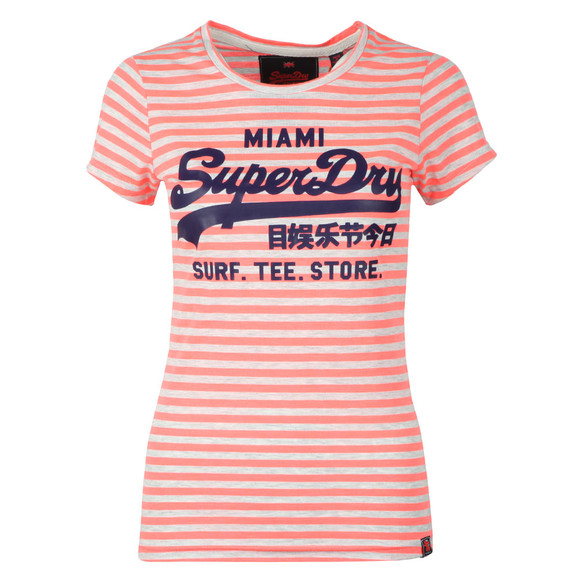 Superdry Womens Pink Vintage Logo Stripe Entry Tee main image