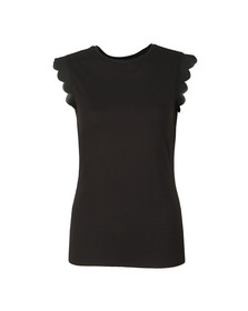 Ted Baker Womens Black Scallop Detail Fitted Tee