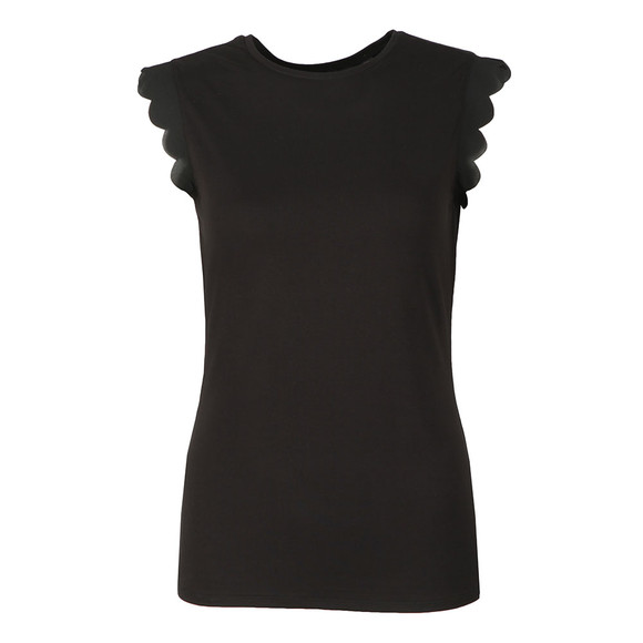 Ted Baker Womens Black Scallop Detail Fitted Tee main image