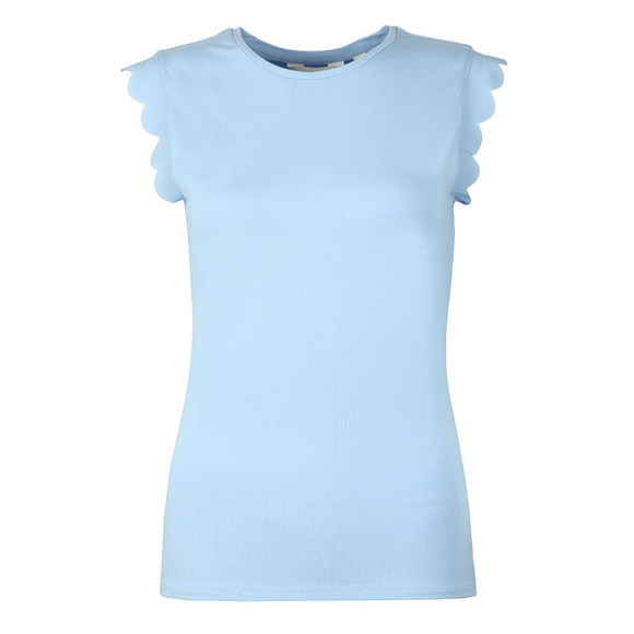 Ted Baker Womens Blue Scallop Detail Fitted Tee main image