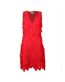Michael Kors Womens Red Floral Lace Dress