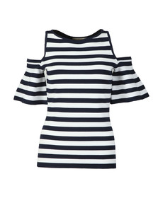 Michael Kors Womens Blue Striped Off Shoulder Top