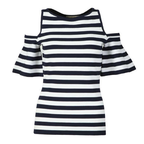 Michael Kors Womens Blue Striped Off Shoulder Top main image