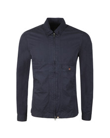 Pretty Green Mens Blue L/S Garment Dyed Zip Shirt