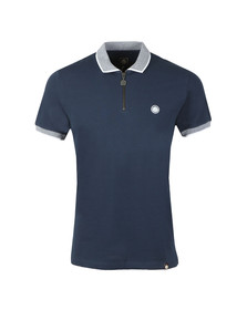 Pretty Green Mens Blue S/S Tipped Zip Polo