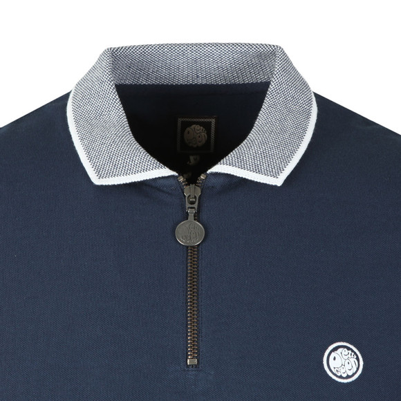 Pretty Green Mens Blue S/S Tipped Zip Polo main image