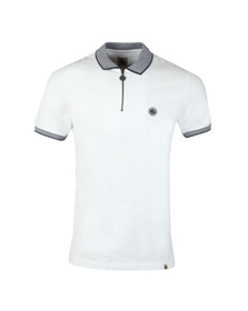 Pretty Green Mens White S/S Tipped Zip Polo