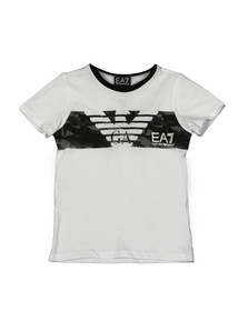 EA7 Emporio Armani Boys White Large  Logo Strip T Shirt