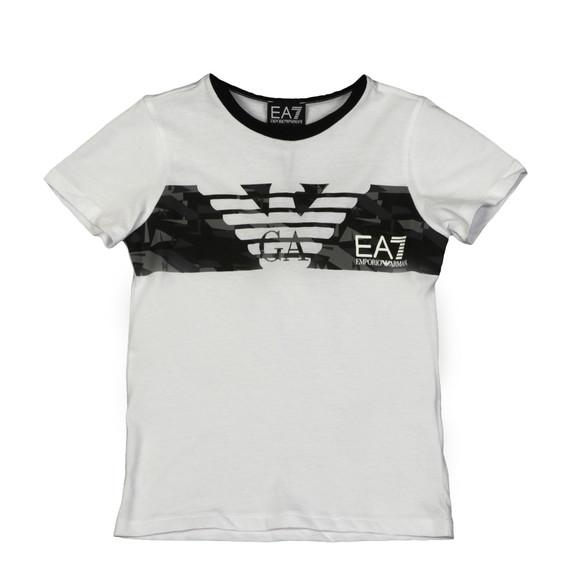 EA7 Emporio Armani Boys White Large  Logo Strip T Shirt main image