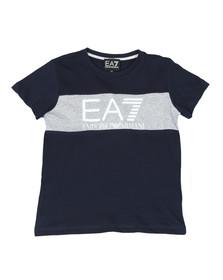 EA7 Emporio Armani Boys Blue Large Logo Crew T Shirt