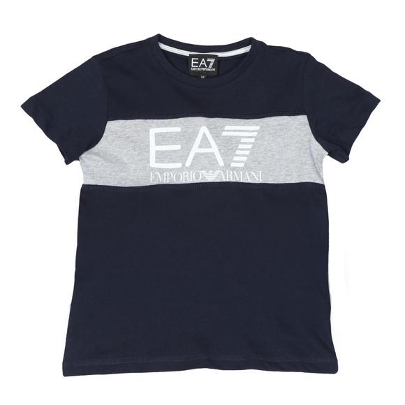 EA7 Emporio Armani Boys Blue Large Logo Crew T Shirt main image