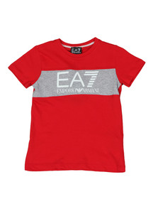 EA7 Emporio Armani Boys Red Large Logo Crew T Shirt