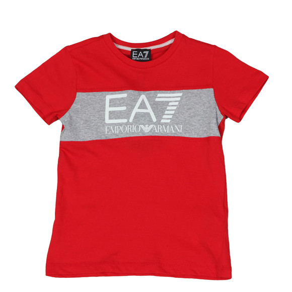 EA7 Emporio Armani Boys Red Large Logo Crew T Shirt main image
