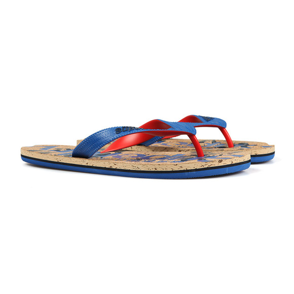 Superdry Mens Blue Printed Cork Flip Flop main image