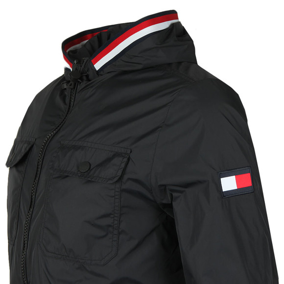 Tommy Hilfiger Mens Black Hooded Nylon Tape Jacket main image