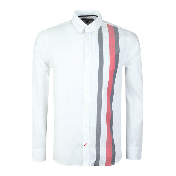 Tommy Hilfiger Mens White L/S Global Stripe Shirt main image