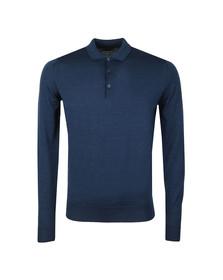 John Smedley Mens Blue Belper Long Sleeve Polo Shirt