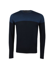 John Smedley Mens Blue Chaldon Colour Block Jumper