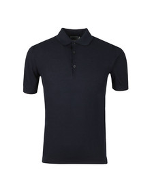 John Smedley Mens Blue Roth Pique Short Sleeve Shirt