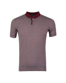 John Smedley Mens Red Etton Striped Polo Shirt