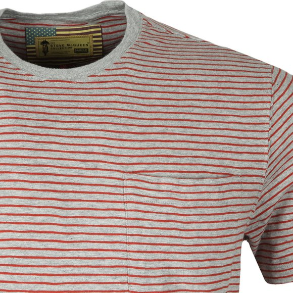 Barbour Int. Steve McQueen Mens Grey S/S Patrol Pocket Stripe Tee main image